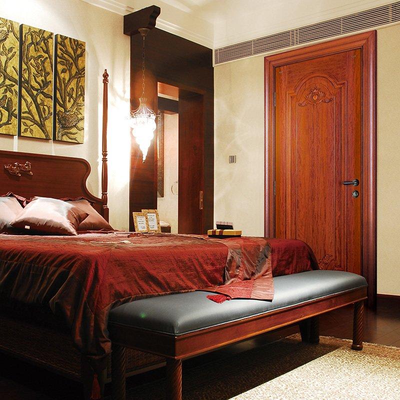 Runcheng Woodworking D024  Interior veneer composited modern design wooden door Solid  Wood  Composite Door image38