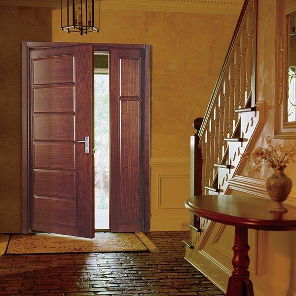 Runcheng Woodworking PP012 Interior veneer composited modern design wooden door Solid  Wood  Composite Door image24