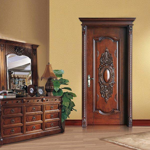 Runcheng Woodworking S038 Interior veneer composited modern design wooden door Solid  Wood  Composite Door image19
