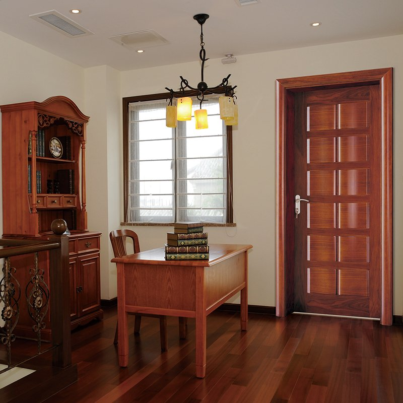 Runcheng Woodworking X025 Interior veneer composited modern design wooden door Solid  Wood  Composite Door image11