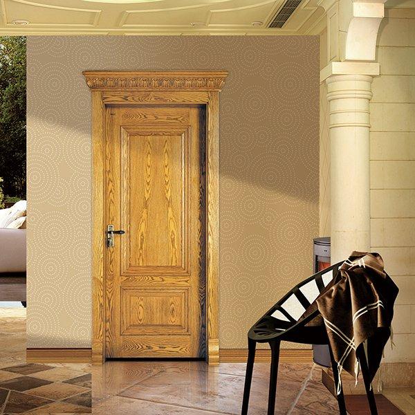 Runcheng Woodworking X035 Interior veneer composited modern design wooden door Solid  Wood  Composite Door image10