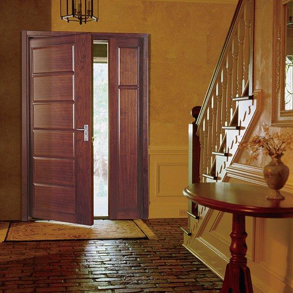 Runcheng Woodworking PP012-1 Interior double  veneer composited modern design wooden door Double  Door image9
