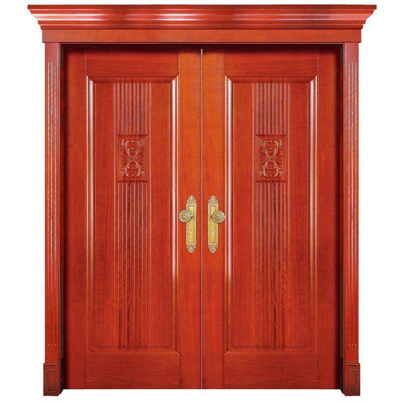 Runcheng Woodworking S006 double Interior veneer composited modern design wooden door Double  Door image6