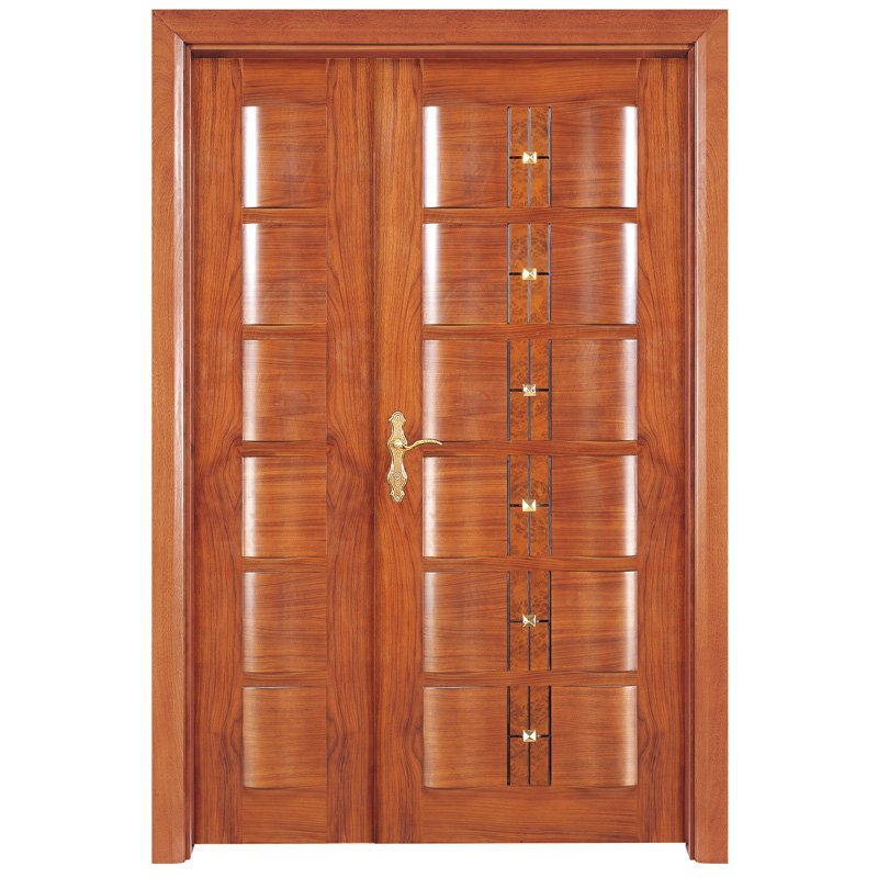 Runcheng Woodworking X019-1 Interior veneer composited modern design wooden door Double  Door image4