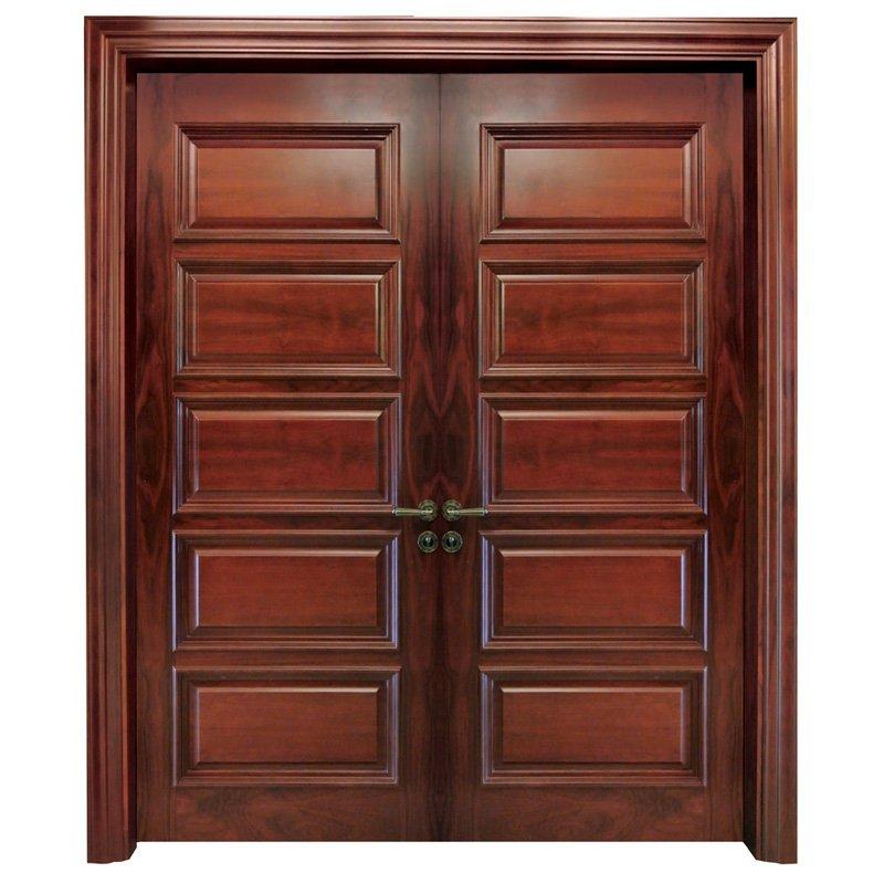 Runcheng Woodworking X053 double Interior veneer composited modern design wooden door Double  Door image2