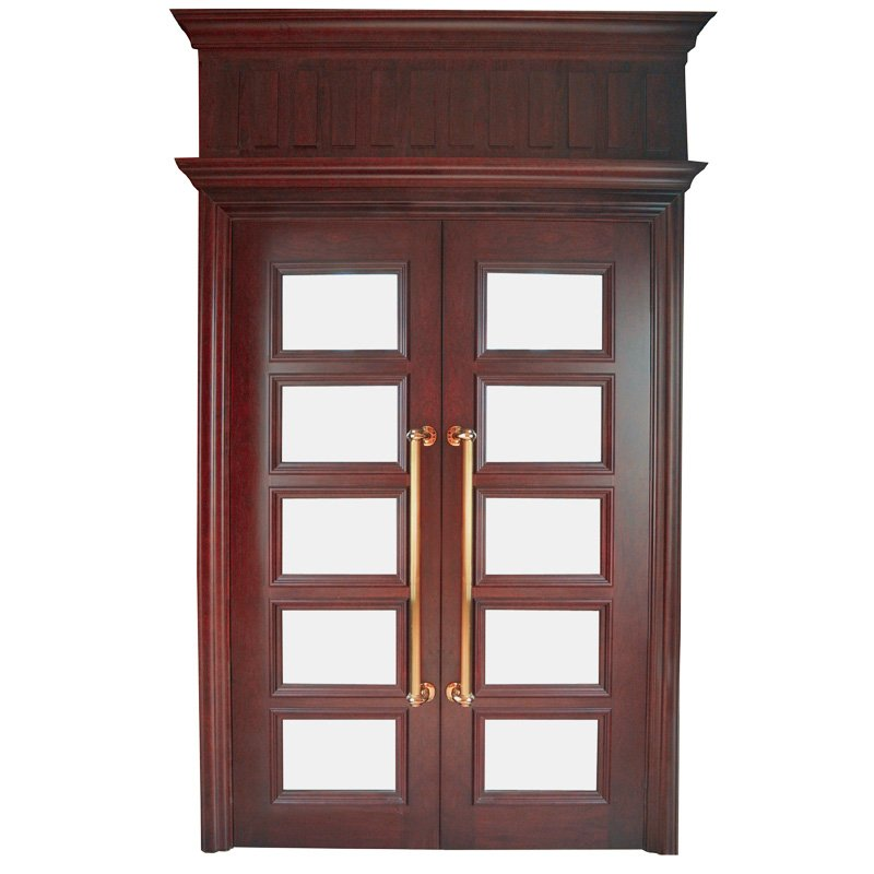 Runcheng Woodworking X053-3  double glass Interior veneer composited modern design wooden door Double  Door image1
