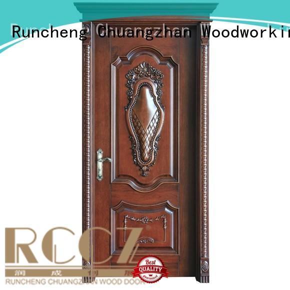 pure modern design composited Runcheng Woodworking Brand solid wood composite doors