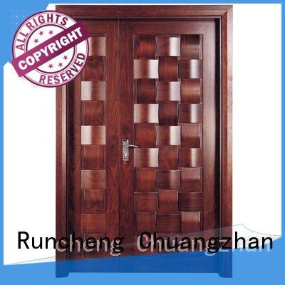 glass pure composited interior double doors Runcheng Woodworking