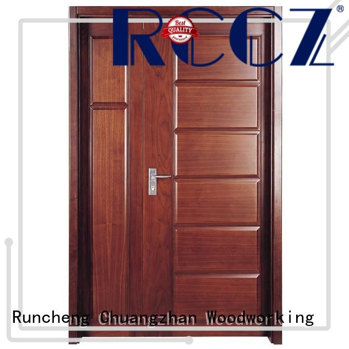 Runcheng Chuangzhan modern double wood doors with glass supply for indoor