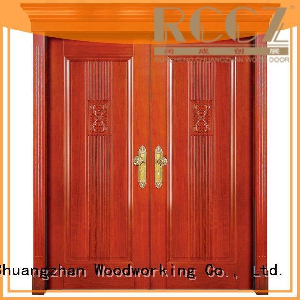Runcheng Woodworking white double doors modern interior door glass
