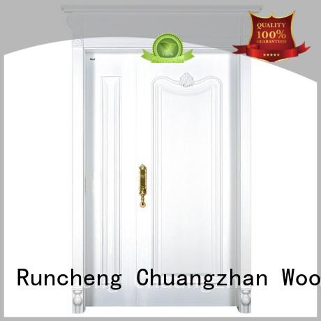 Runcheng Woodworking Brand veneer interior double doors glass factory