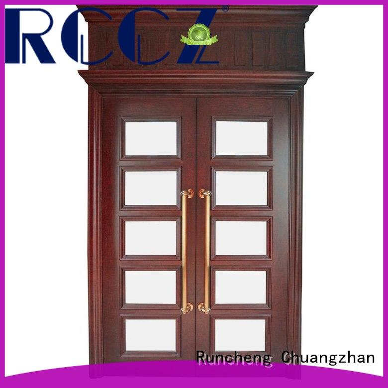 Runcheng Chuangzhan reliable hardwood double doors supplier for indoor