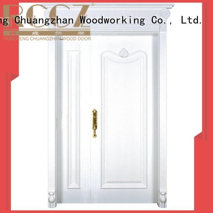 Runcheng Woodworking Brand veneer composited glass interior double doors