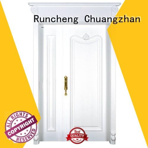 Runcheng Chuangzhan composited double wood front doors manufacturer for homes