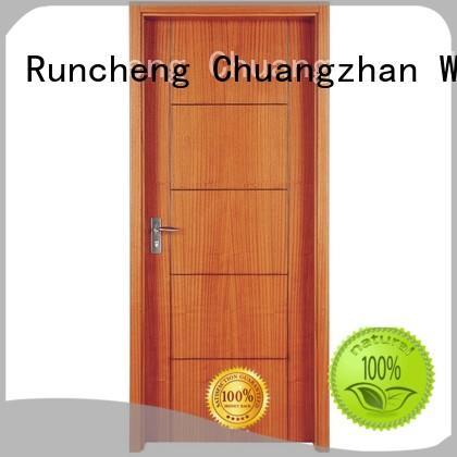 modern veneer composited solid wood composite doors modern design Runcheng Woodworking
