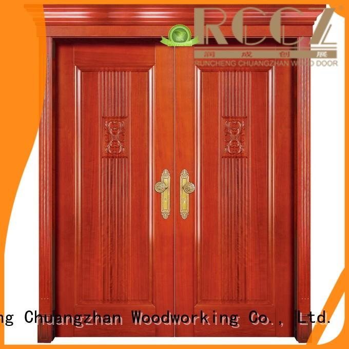 Runcheng Chuangzhan double wood doors with glass with novel design for homes