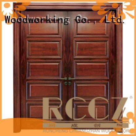 white double doors glass interior door solid Runcheng Woodworking