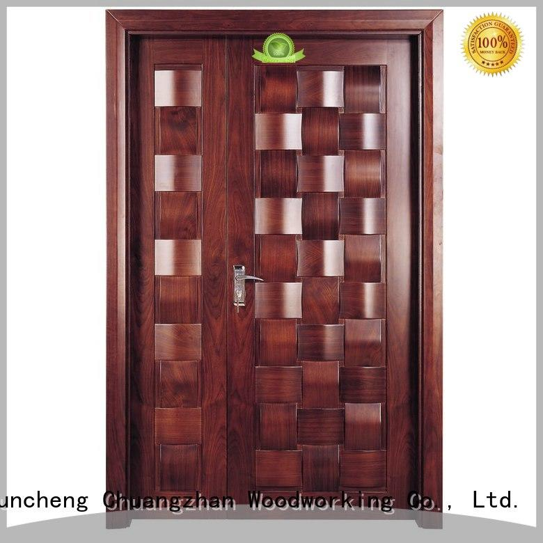 Runcheng Woodworking Brand double design wooden custom interior double doors