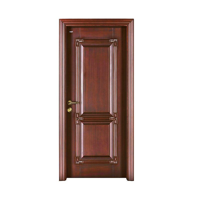 Classic style walnut wood exterior solid door S020