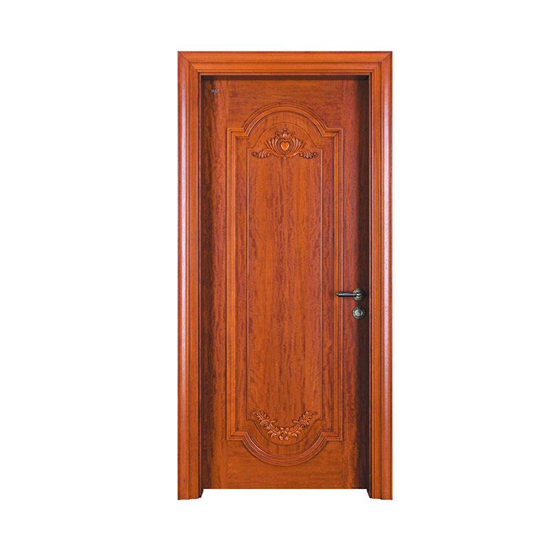 Classic style black okoume exterior wood door D024