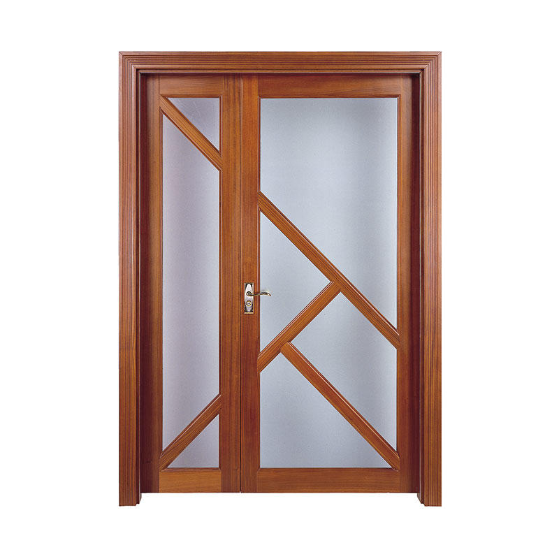 Simple style American Walnut wood glass exterior door C007