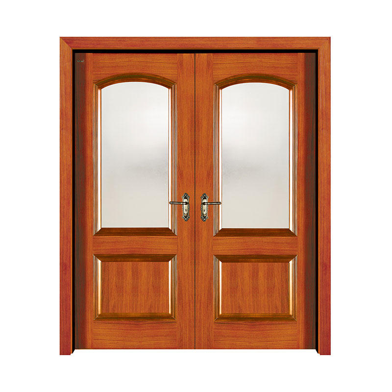 Apartment Golden Teak glass exterior  wooden door 8-S001