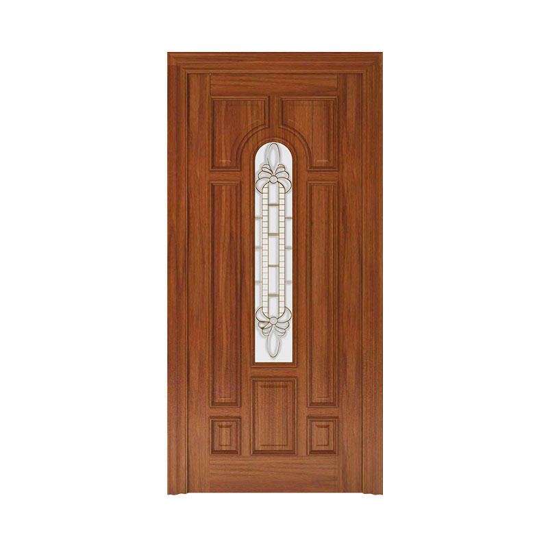 Simple style Golden Teak  glass exterior wood door WM0018
