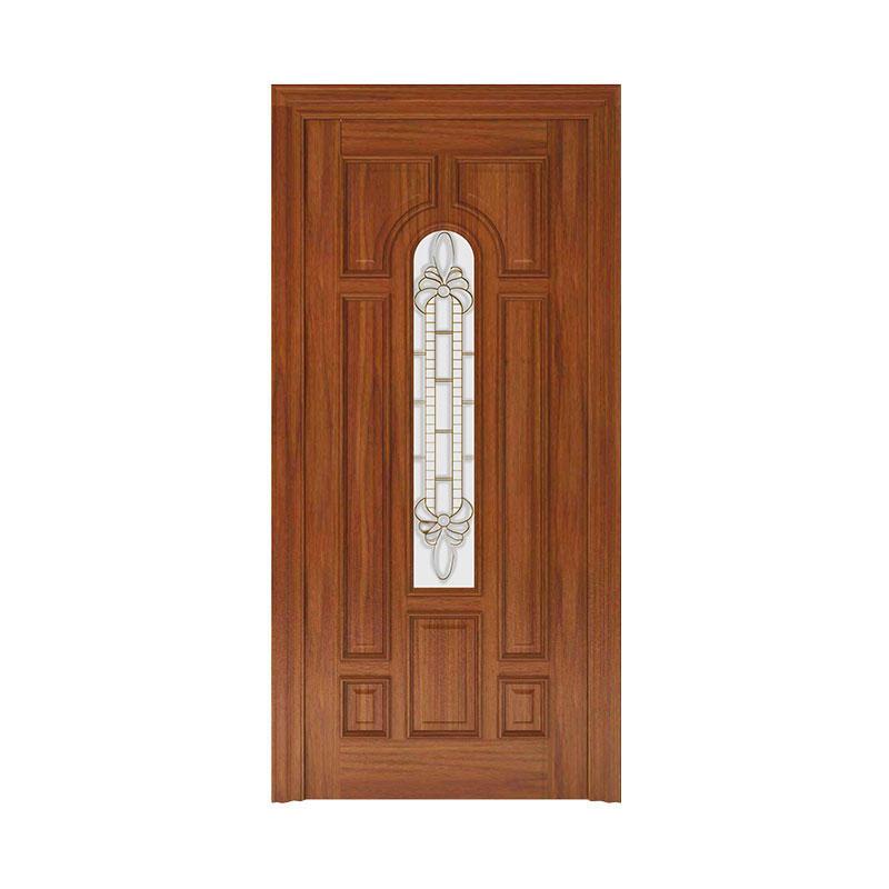 Simple style Golden Teak  glass exterior wood door WM0018