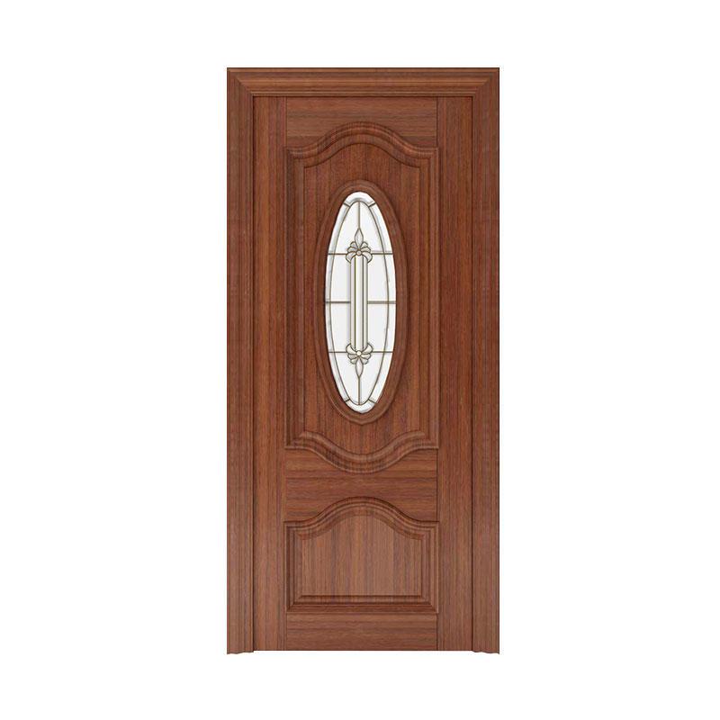 Apartment Golden Teak exterior glass wooden door WM0019