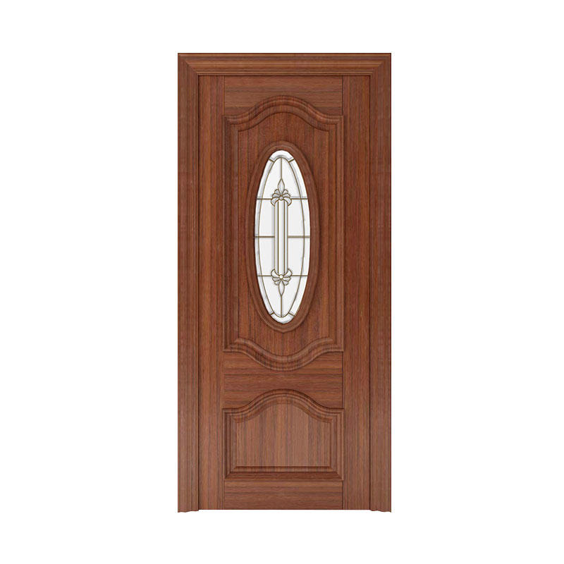 Apartment Golden Teak exterior glass wooden door WM0019