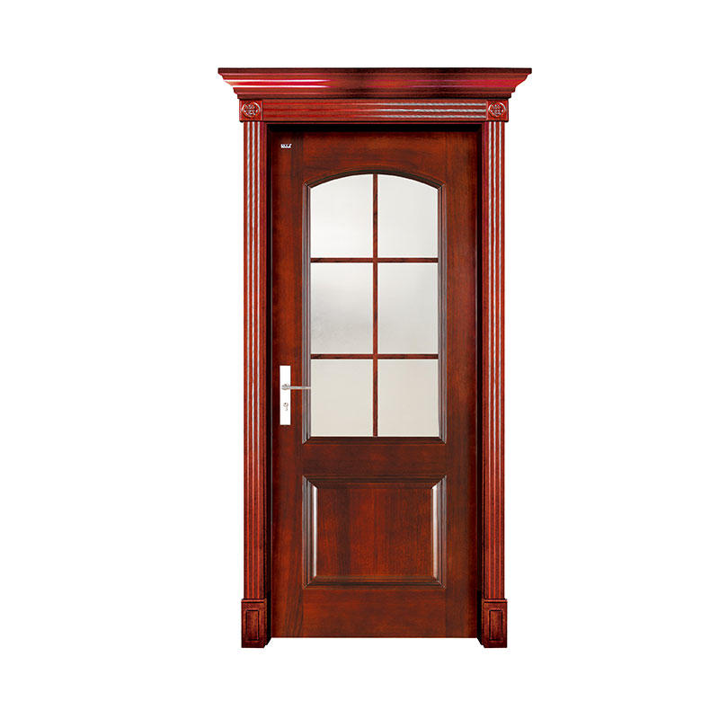 Simple style Sapele wood glass exterior door WM0022