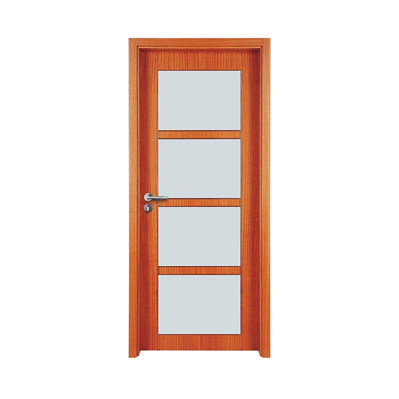 Simple design Okoume glass exterior door WM0025