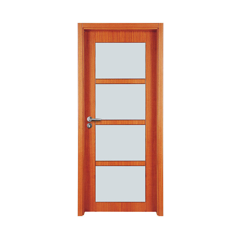 Simple design Okoume glass exterior door WM0025