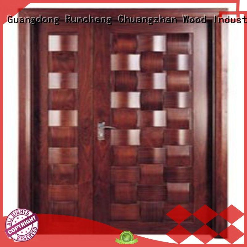 Quality Runcheng Chuangzhan Brand white double doors solid quality double