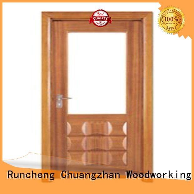 Runcheng Woodworking Brand durable glazed door wooden double glazed doors manufacture