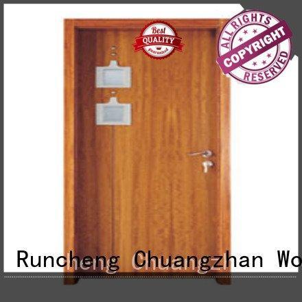 wooden glazed front doors glazed door Runcheng Woodworking Brand