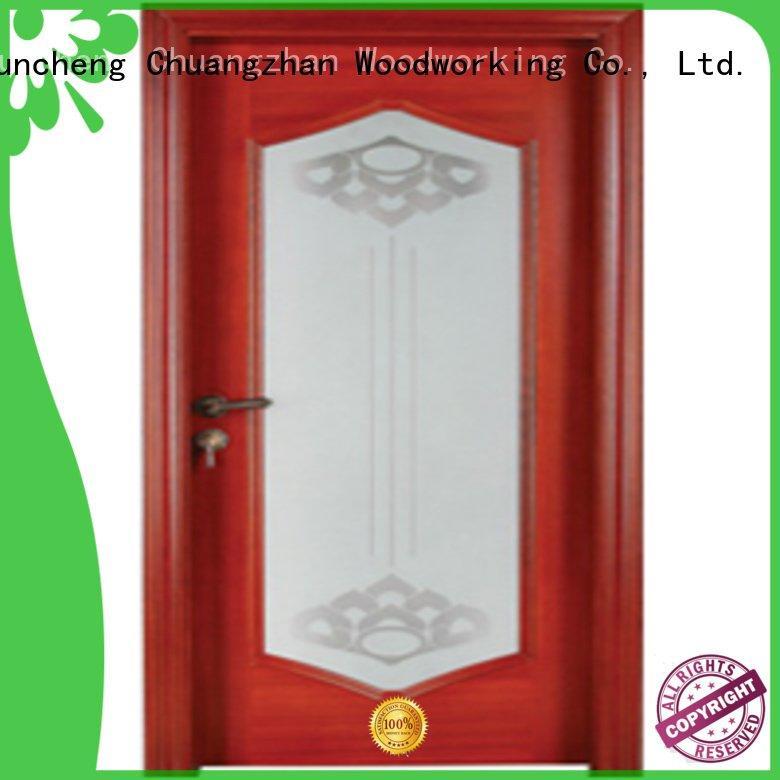 Hot wooden glazed front doors pure solid wood Runcheng Woodworking Brand