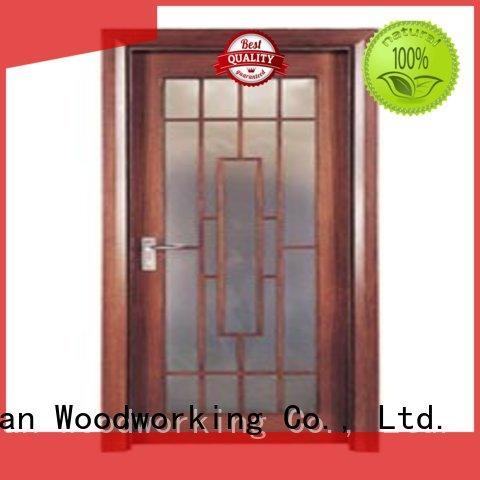 Runcheng Woodworking Brand door durable wooden double glazed doors manufacture