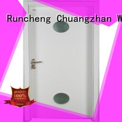 Runcheng Woodworking Brand pure wooden glazed front doors s0073 wood