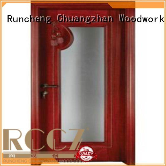 door wood wooden double glazed doors pure Runcheng Woodworking company
