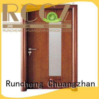 wooden glazed front doors door glazed OEM wooden double glazed doors Runcheng Woodworking
