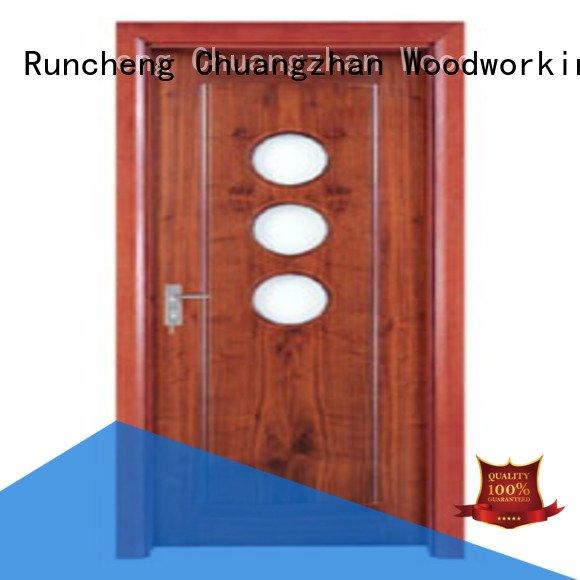wooden glazed front doors d0074 d0073 OEM wooden double glazed doors Runcheng Woodworking