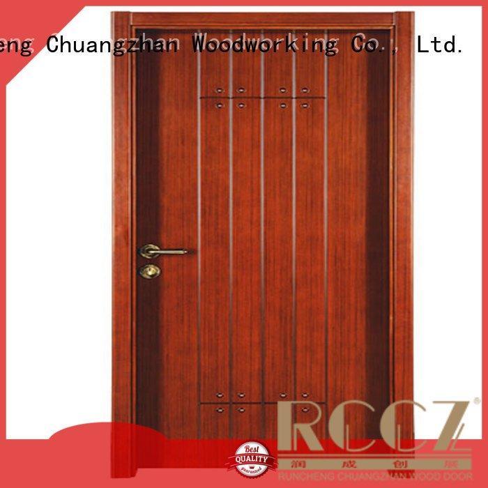 cheap wooden front doors door Runcheng Woodworking Brand