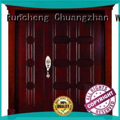 Runcheng Chuangzhan eco-friendly exterior wood double doors Suppliers for homes