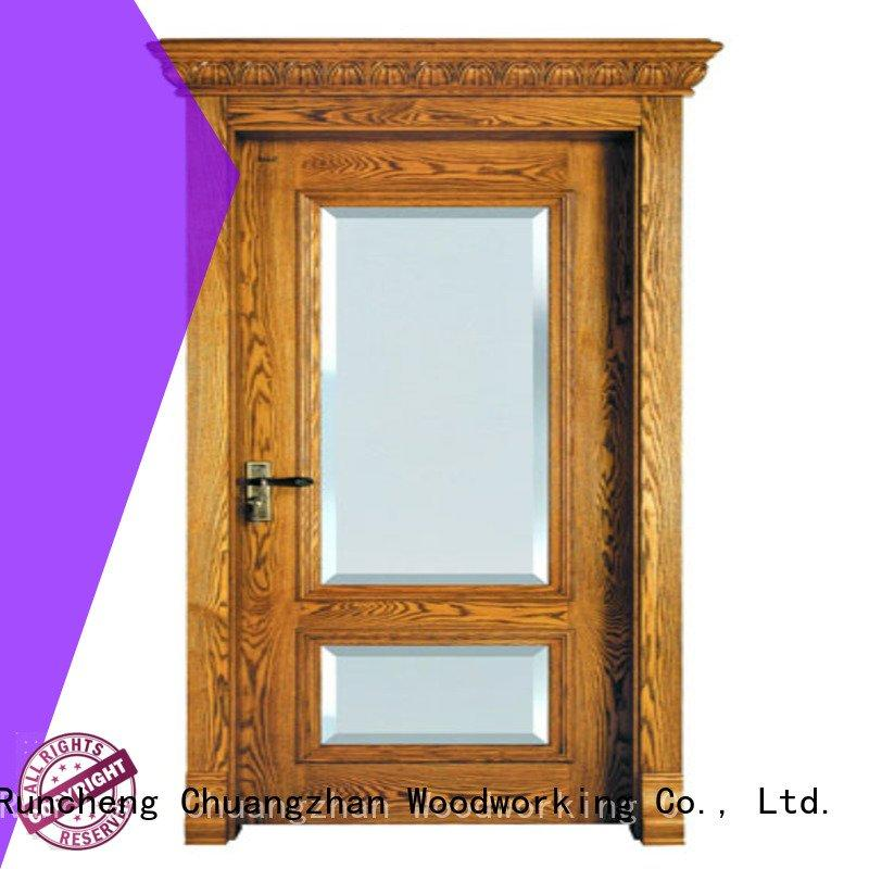 bedroom bathroom door oak veneer interior doors Runcheng Woodworking