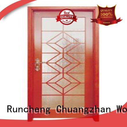Quality Runcheng Woodworking Brand durable glazed wooden double glazed doors