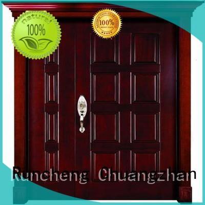 Wholesale double solid wood double doors door Runcheng Woodworking Brand