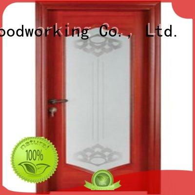 door wood wooden double glazed doors pure Runcheng Woodworking Brand