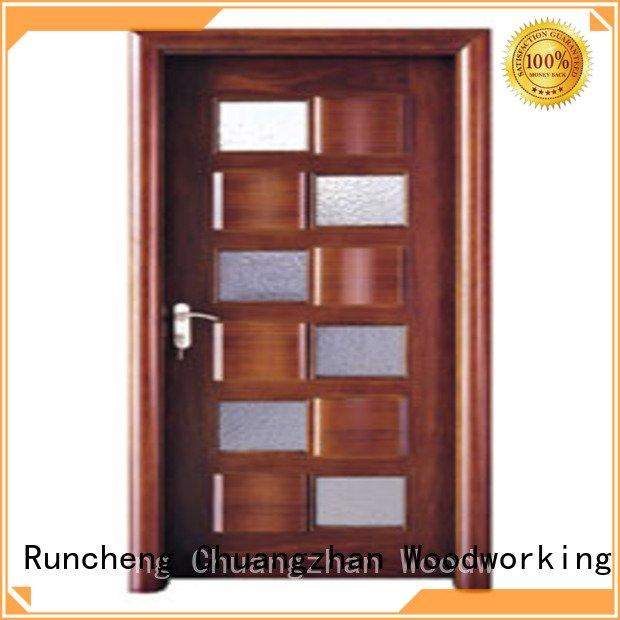 wooden glazed front doors l0084 door wooden double glazed doors Runcheng Woodworking Brand