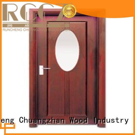 Runcheng Chuangzhan Brand durable door glazed wooden double glazed doors manufacture